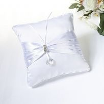 White Rhinestone Wedding Ring Cushion